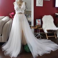 Wholesale Layered Chiffon Bridesmaid Dresses - 2 tone wedding tulle skirt with slit layered tulle and chiffon champagne and ivory skirt boho chic wedding skirts modern