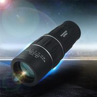 zoom lensler gece görüş toptan satış-Açık Monokülerler Gece Görüş Teleskoplar 16x52 Çift Odak Yakınlaştırma Optik Lens Zırhlama Seyahat Monoküler Teleskop Turizm Kapsam Dürbün