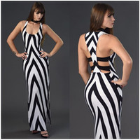 Wholesale Stripped Vest - 2017 Sexy Backless Women Classic Strips Bodycon Dress Casual Summer Tank Vest Maxi Long Dress Sundress Party Dresses High Split maxi dress