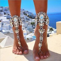 Wholesale Crystal Sandals For Women - 2017 Australia Beach Vacation Ankle Bracelet Sandals Sexy Leg Chain Female Boho Crystal Anklet Statement Jewelry For Women