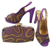 bolso a juego con bombas moradas al por mayor-Los zapatos púrpuras africanos del tacón alto 12CM de la venta caliente emparejan el bolso fijado con las bombas de las mujeres de los diamantes artificiales y el bolso para el vestido BCH-28