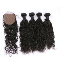 Wholesale 32 Hair Shedding - 100% human hair peruvian water wave hair bundles with closure silk base 4x4 free part no shedding G-EASY