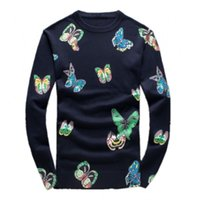 Wholesale Sweaters Butterfly - Wholesale- 2016 Men's new arrival fashion O-neck butterfly printed keep warm high quality 95% woolen sweater,M,L.XL.XXL.