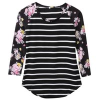 Wholesale Wholesale Striped Tshirts - Wholesale- Full Sleeve Tshirts Cotton Women Striped Floral Patchwork Raglan Long Sleeve Tshirt Women Tee Shirt Femme Plus Size T-shirt