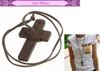 Wholesale Wooden Cross Pendant Necklace - 200PC Best New Fashion Euramerican And Korean Style Retro Jewelry Simple Wooden Cross And Leather Rope Necklace Sweater Chain Wholesale
