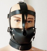 Wholesale Male Bondage Sex Masks - Kinky Fetish Bondage Hippie Style Head Harness Muzzle Gag Male Slave Role Play Toy Costume Leather Restraint Mask Sex Products