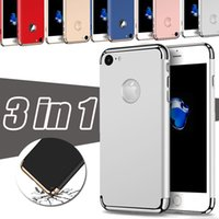 Wholesale Matte Chrome - 3 in 1 Combo Matte Frosted Chrome Hybrid Slim Shockproof Hard Plastic Back Cover Armor Case For iPhone 7 Plus 6 6S Samsung S8 S7 edge S6
