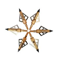Wholesale Archery Tools - 6pcs lot 100grains arrow head broadheads GOLD 3 blades for bow hunting and Archery tools