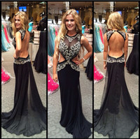 Wholesale Mermiad Dresses - 2017 Newest High Quality Black Prom Dress Mermiad Party Gowns Backless Appliques Sex Prom Dress Chiffon Prom Dress