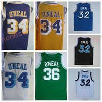 Wholesale Retro Materials - 2017 Retro 32 Shaquille ONeal Jersey Rev 30 New Material 34 Shaquille O Neal Shirts 36 ONeal Throwback Uniforms Yellow Purple White Blue