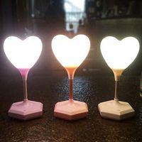 lámparas de globo al por mayor-2017 Hot Mini 3D Love Balloon forma de corazón Toucht-Control LED luz de la noche dormitorio lámpara envío gratis