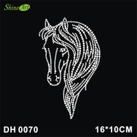Wholesale Hotfix Red Rhinestones - Free shipping Wonderful life Wholesale free shipping horse head image ot Rhinestone Transfer Iron On Hotfix Image Design DIY DH0070#