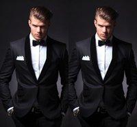 Wholesale Gentle White - Black Gentle Man Tuxedo Suits Handsome Groom Suits One Button Slim Fit Wedding Suit For Men (Jacket+Pants+Bowtie)