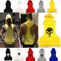 Wholesale Skull Back Top - Men Stringer Bodybuilding Tank Top Skull Shirt Fitness Vest Solid Gym Cotton Muscle Singlet Tank Tops Fitness Clothes Hooded Y-Back Tanks