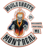Wholesale Sew Embroidery Patches - DEVILS GHOSTS MONTRAL MC 1% EMBROIDERY IRON PATCH CUSTOM SEW BADGE