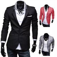 chaqueta de dos colores para hombre al por mayor-EAS New Stylish Men's Casual Slim Fit Traje de dos botones Blazer Coat Ocio chaqueta Tops 3 colores tamaño EE. UU. XS-L