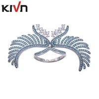 Wholesale Mother Brid - KIVN Womens Fashion Jewelry Blue Brid Angel Wing Feather Pave CZ Cubic Zirconia Wedding Engagement Rings Mothers Birthday Christmas Gifts