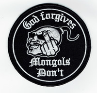 """Wholesale Club Jackets Wholesale - New God Forgives Mongols Don't Motorcycle Club Biker Embroidered Patch Iron On Clothing Front Jacket Vest Rider Patch 3.5"""" Free Shipping"""