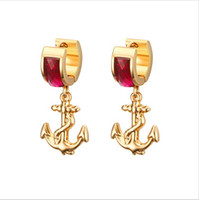 Wholesale Wholesale Gold Anchor Stud Earrings - Anchor Earrings For Women Gold Color With Red Crystal Female Stud Earring Wholesale ED-049