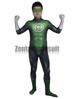 Wholesale Green Lantern Zentai Costume - 3D Movie Green Lantern Costume Bodysuits Suits Printed Spandex Lycra Cosplay Zentai Halloween Party Costume