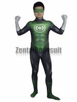 Wholesale Green Lantern Zentai - 3D Movie Green Lantern Costume Bodysuits Suits Printed Spandex Lycra Cosplay Zentai Halloween Party Costume
