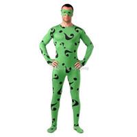 patrón lycra zentai al por mayor-Negro Signo de interrogación Patrón Cosplay disfraces Halloween verde Lycra Spandex Full Body Zentai Suit