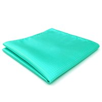 Wholesale branded handkerchiefs - CH34 Aqua Solid Silk Mens Pocket Square Classic Brand New Handkerchief Fashion Wedding Acceossories Hanky