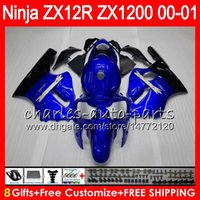 kawasaki zx12r carenagens azul venda por atacado-8Presentes 23Cores Para KAWASAKI NINJA ZX 12 R ZX12R 00 01 02 50HM9 ZX1200 azul preto C ZX1200C ZX 1200 ZX 12R ZX-12R 2000 2001 2002 Carenagem