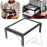 Wholesale Magnifier 3x Led - Full Page Magnifier With LED Light Magnifying Glass 3X Giant Hands Free Desk Foldable A4 Book Reading Aid Lens OOA3591