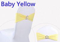 gelbe baby-fliege großhandel-Baby gelbe Farbe Crown Schnalle Lycra Schärpe für Hochzeit Stühle Dekoration Spandex Band Stretch Fliege Lycra Band Gürtel zum Verkauf