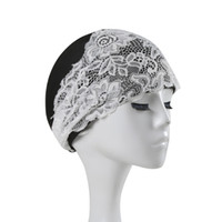 Wholesale Lace Beach Hats - Wholesale- Women's Lace Swimming Cap Girls Flower Elastic Hollow Out Bathing Hat Beach Swimming Pool