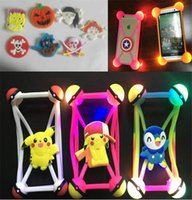Wholesale Halloween Iphone Cases - 3D cartoon LED lamp bumper 3.5-5.5'' universal luminous silicone cover led frame cases for iphone 8 7 samsung s7 s8 halloween christmas toy