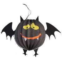 Halloween Figurines Baratos-Al por mayor-Halloween 3 pcs / set Nuevas figuritas de moda Miniaturas Halloween Pumpkin Spider Bat Skeleton Lamp Linternas de papel Decoración partido