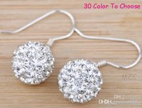 W2422 Livraison gratuite! Plaque en argent 10MM blanc Cheap best Clay Disco Ball Bead Hip Hop Rhinestone shamballa crystal Drop Earrings w62