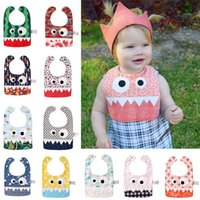 Serviettes Orange Doux Pas Cher-Ins Big Eye Monster Bibs avec des dents mignonnes Babillards Soft Bandana Bibs Infantile Saliva Serviette Toddler Absorbant Dribble Feed Care Burp Tissus