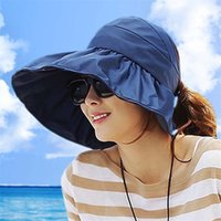 Wholesale Wide Ride - Ladies summer sun hat 10 COLORS female folding car ride sun beach hat large outdoor sunscreen both sides can wear M178