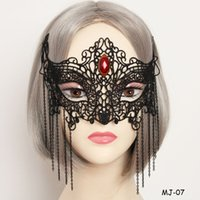 Wholesale Rhinestone Eye Mask - Girls Black Lace Resin Rhinestone Tassel Half Face Mask Women Halloween Party Masquerade Masks Exaggerate Cosplay Eyes Mask Veil