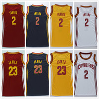 9d426d6a9d9 womens  23 LBJ men basketball Dress Jerseys red white navy blue   2 Irving  Embroidery Stitched Basketball Wear Girls sexy wholesale ...