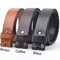 Wholesale Brown Belt Snap - Wholesale- 100% Italy Full Grain Cowhide Belt Strap Snap on Cowhide One Piece Leather Unisex Belt