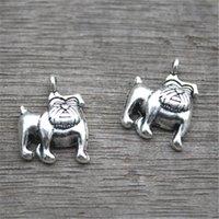 köpek antik gümüş kolye toptan satış-25 adet-Köpek Charms, Antik Tibet Gümüş Ton Sevimli Bulldog charm kolye 13x17mm