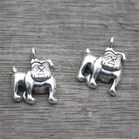 Wholesale Antique Bulldog - 25pcs--Dog Charms,Antique Tibetan Silver Tone Cute Bulldog charm pendants 13x17mm