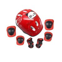 Wholesale Ice Skate Protectors - Wholesale- 7 pcs set Skating Protective Gear Sets Elbow pads Bicycle Skateboard Ice Skating Roller Knee Protector For Kids