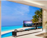 Wholesale Vinyl Sea Backdrop - Large sea cottage palm trees background wall murals mural 3d wallpaper 3d wall papers for tv backdrop