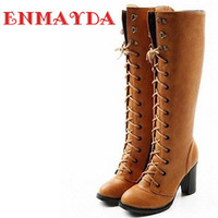 Wholesale Long Boots For Sale - Wholesale-ENMAYDA 2016 Fashion Lace Up Women's Platform Knee Boots for Ladies Long Boot Drop Shipping BIG Size 34-43 Sale