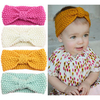 Wholesale baby knitted headbands - Winter baby hair accessories wholesale children's bohemian hair band knitting wool ear protection caps Baby turban baby headband