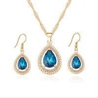 Wholesale created emerald jewelry - 18K Gold Plated Crystal Paved Created Ruby Emerald Sapphire Teardrop Dangle Earrings Chain Necklace Jewelry Sets for Women Gift