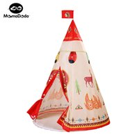 Plastic/Wooden Play House outdoor tente - natural indian pattern children toy tent teepees safety tipi portable playhouse for indoor kids outdoor tente enfant play tent