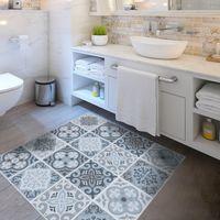 Wholesale Vintage Bathroom Mat - Creative Simple Gray Floor Decoration Sticker Vintage Printing Geometric PVC Mat 2017 Trendy Home Decor Bathroom Waterproof Anti-skid Carpet