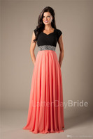 Wholesale Chiffon Two Tone Dresses - Coral Black Two Tones Long Modest Prom Dresses With Cap Sleeves Beads Belt Ruched Chiffon A-line Elegant Evening Party Dresses 2017