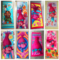 Wholesale Swimming Robes - Moana Trolls poppy Carton Bath towel summer beach swimming Kids Favors Towels B Party Favor for Kids 150*75CM
